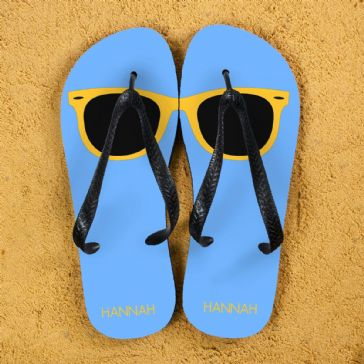 Holiday Style Personalised Flip Flops in Blue and Yellow